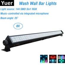 8 sztuk/partia LED Bar światła 144 sztuk SMD LEDS RGB kolorowy doprowadziły ściany mycia światła idealne na wesele Disco wydarzenia oświetlenie