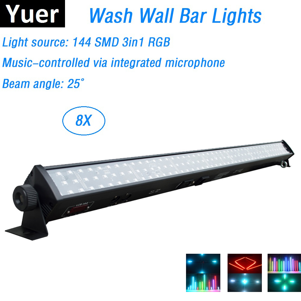 8Pcs/Lot LED Bar Lights 144Pcs SMD LEDS RGB Full Color LED Wall Wash Lights Perfect For Party Wedding Disco Events LightingStage Lighting Effect   -