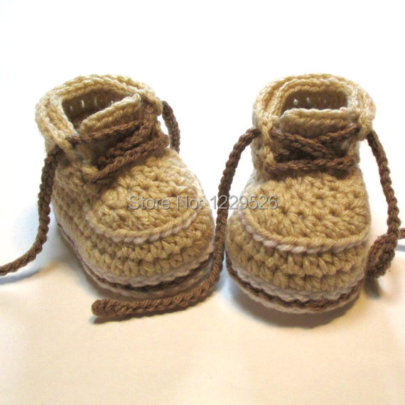 Baby booties. Crochet work boots. Ready to ship. 3-6 months. Baby girl ...