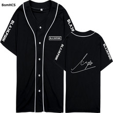 Kpop Blackpink Lisa Cotton Short Sleeve Baseball Shirts Uniform Fanmade Loose Tee Sport Tops (White Black)