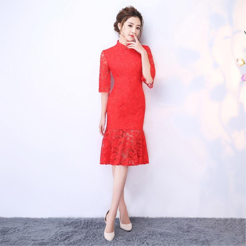 U-SWEAR 2019 New Arrival Women Red Lace   Bridesmaid     Dresses   Half Sleeve Vintage High Waist Sheath   Bridesmaid     Dress   Cheongsam