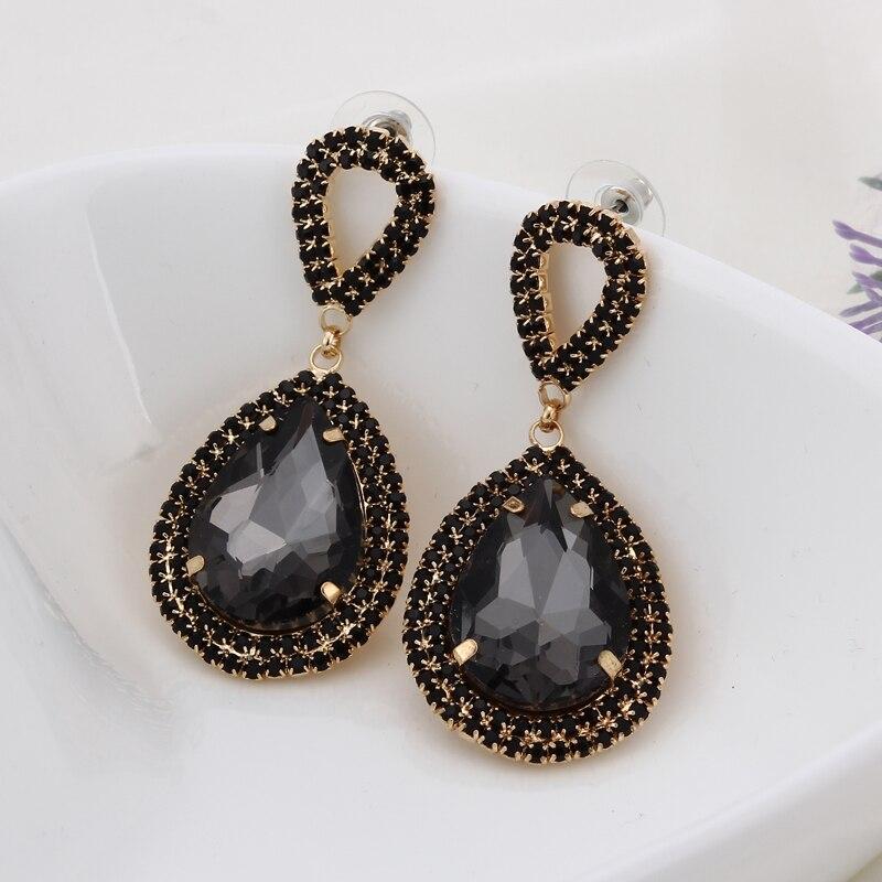 Модни накит кристално супер сребрно галванско капање воде капљице Рхине Стоне велике капке минђуше за жене # Е014