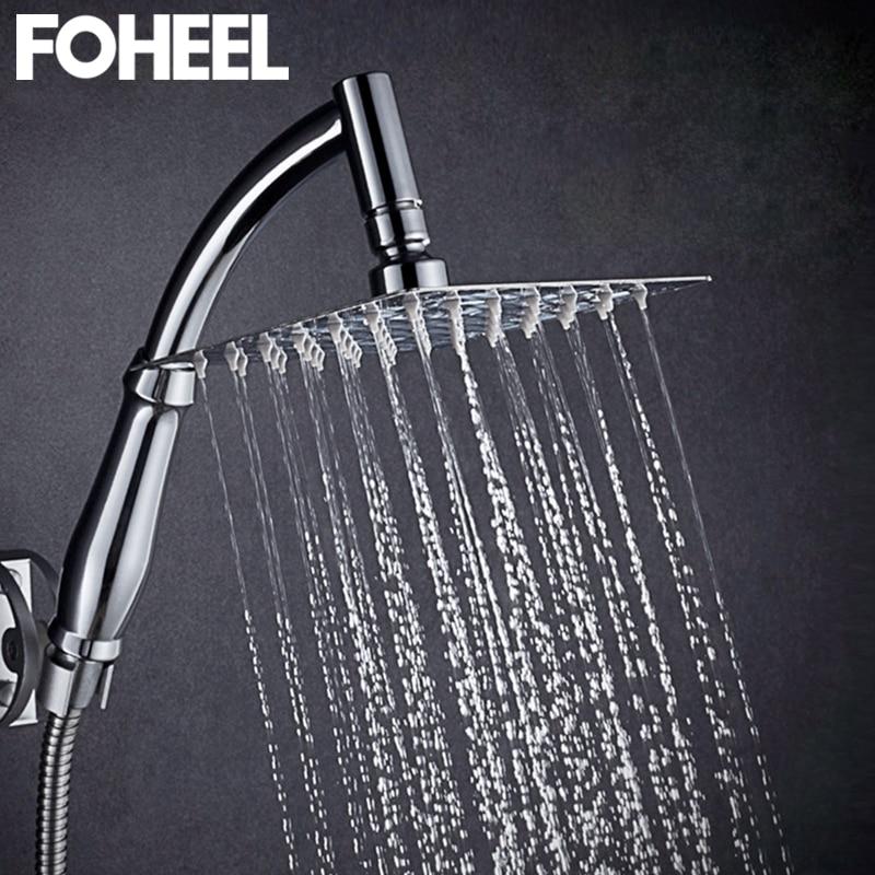 FOHEEL 6 And 8 Inch Shower Head Stainless Steel Brass Shower Head Water Saving Bathroom Rain Spa Square Handheld Shower Head