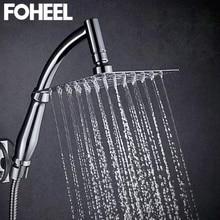 Shower-Head Square Bathroom Stainless-Steel Water-Saving Rain FOHEEL Handheld Spa 6 8inch