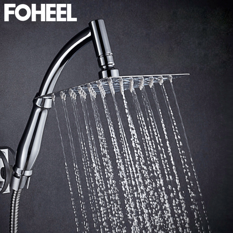 Foheel 6 e 8 polegada cabeça de chuveiro aço inoxidável latão cabeça de chuveiro de poupança água do banheiro chuva spa praça handheld cabeça de chuveiro