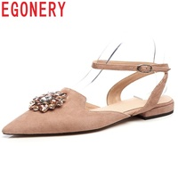 EGONERY Chaussures Low Heels Sexy Fashion Female Pointed Toe Buckle Rhinestone Decoration Concise Sweet Candy Color