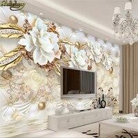 Beibehang Custom behang grote muurschildering 3d luxe witte bloemen zachte tas bal sieraden TV muur papel de parede behang
