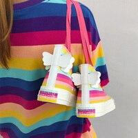 Luxury Women Angel Wings Patchwork Shoes Brand Lovely Girls Canvas Thick Heel Sneakers Designer Rainbow Bottom Running Platform