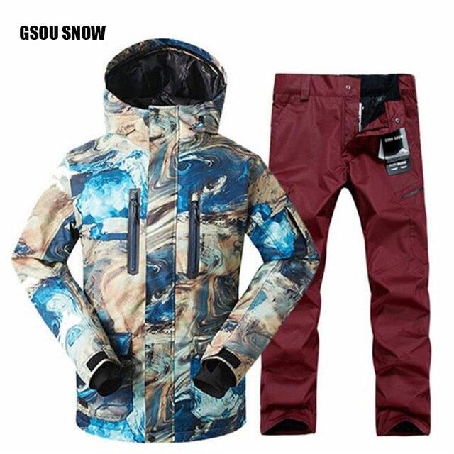 2018 FREE SHIPPING Snowboard Jacket + Pantalones Masculina Nueva Gsou Hombres Traje De  Impermeable al Aire Libre Deporte Campin