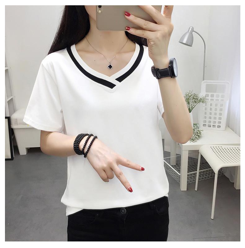 4XL 5XL Plus Size Korean Women's Clothing Fashion Big Size T-shirt Female V neck Short Sleeve Casual obesity Tee Shirt Top Femme 35