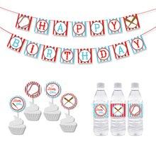 Sport Baseball Birthday Party Banner Boy Decorations Kids Cupcake Topper Supplies