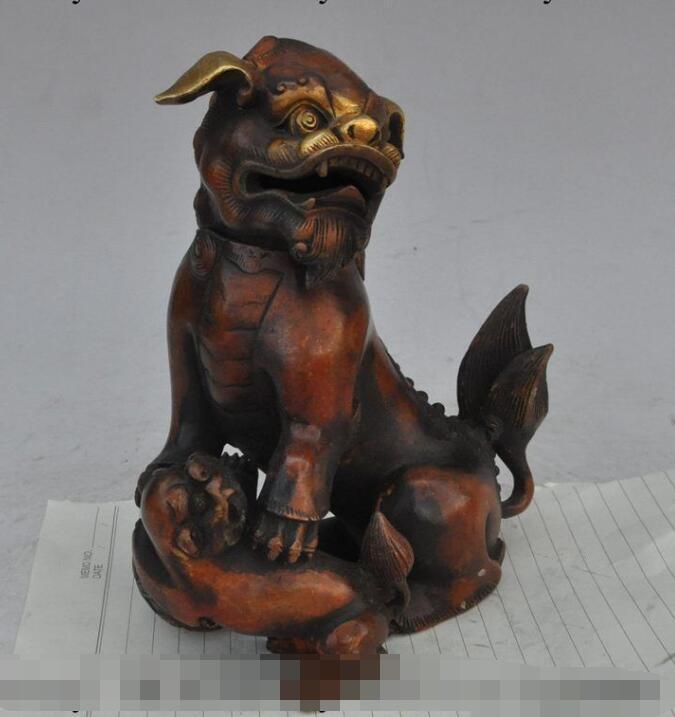"""S1897 7"""" chinese fengshui bronze gilt foo dog lion beast statue Incense Burner Censer"""