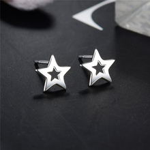 Hot-Selling 100% 925 Silver  Pentagonal  Star Earrings  Female  Silver  Small  Earring   LED19060 hot selling dunlop ventilated 100