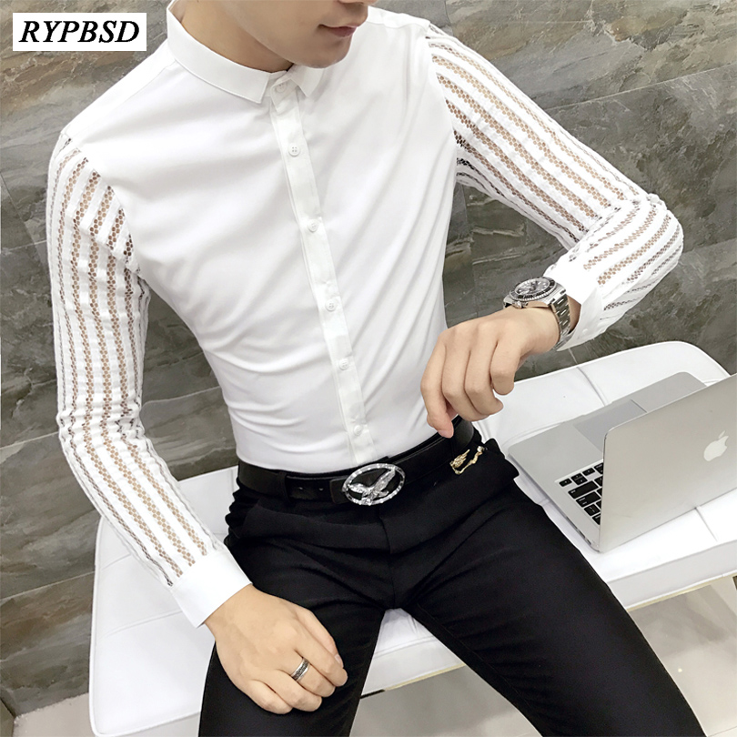 2018 New Arrival Autumn Mens Lace Shirt Party Prom See Throught Shirt Men Chemise Homme  ...