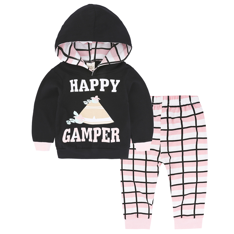 Fashion Spring Autumn Kids Boys Girls Clothing Sets Cotton Letter Long Sleeve Hooded Pullover Tops+Pants Newborn Clothes Suits