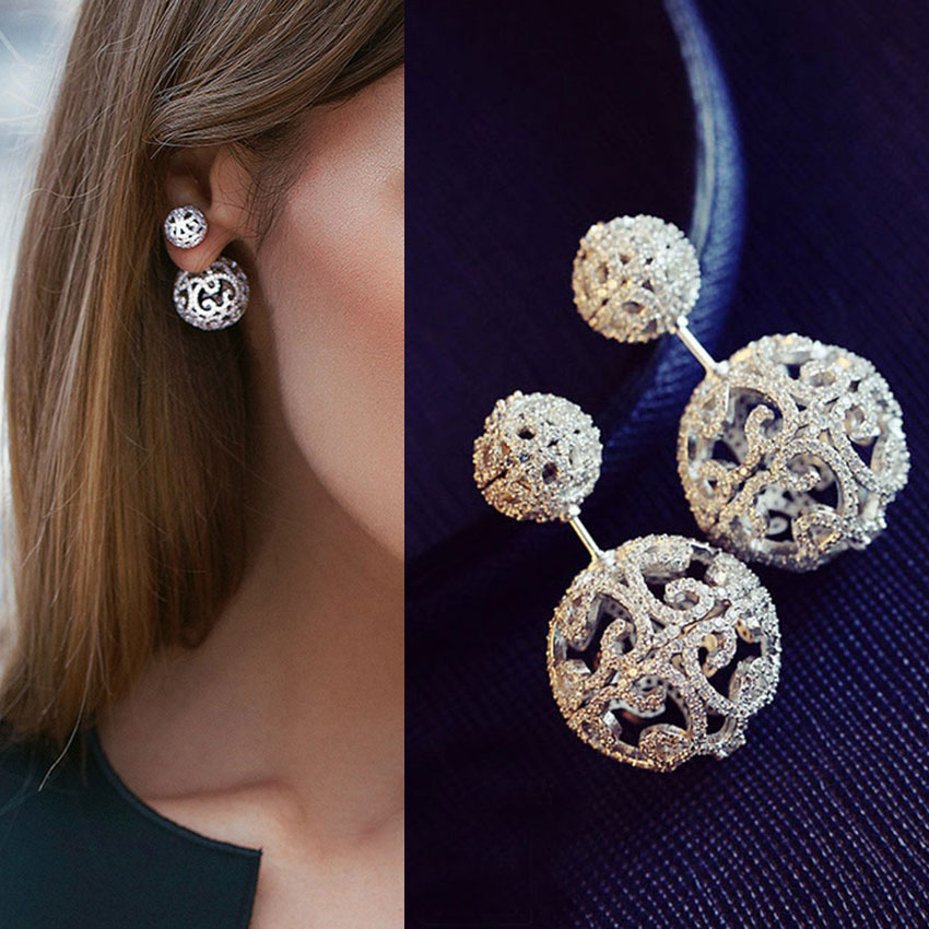 Luxury Full Micro Cubic Zirconia Pave Double Sided Hollow Balls Silver Jacket Earrings Trendy Costume Jewelry