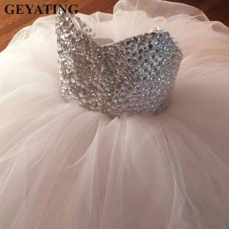 2019 New Crystal Beaded   Flower     Girl     Dresses   for Weddings Tulle Ball Gown Pageant Evening   Dress   First Communion   Dresses   For   Girls