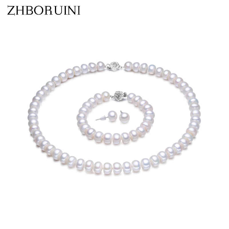 ZHBORUINI Pearl Jewelry Sets 100% Natural Freshwater 925 Sterling Silver Jewelry Pearl Necklace Earrings Bracelet For Women Gift