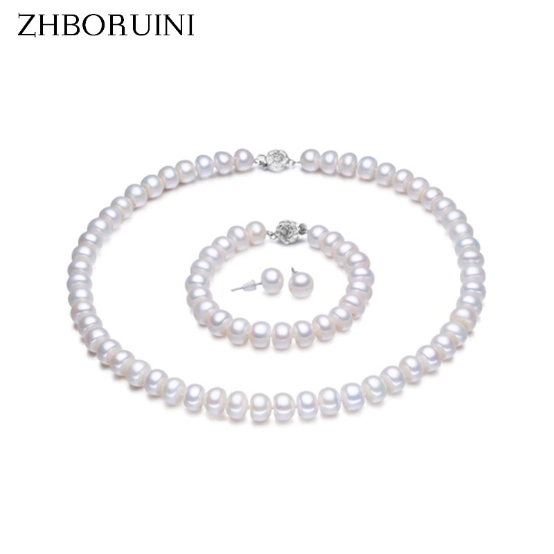 ZHBORUINI Pearl Jewelry Sets 100% Natural Freshwater 925 Sterling Silver Jewelry Pearl Necklace Earrings Bracelet For Women GiftZHBORUINI Pearl Jewelry Sets 100% Natural Freshwater 925 Sterling Silver Jewelry Pearl Necklace Earrings Bracelet For Women Gift