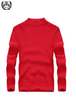 2019 New Autumn Spring Sweaters Long Sleeve Pullover Stand Collar Solid Color Knitted Sweater Base Casual Straight Men's Fashion