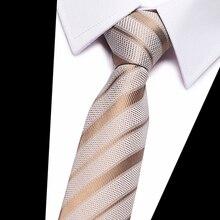 Brand New Gravata Gold Striped Print Blue Silk Neck Ties For Men Tie  7.5 cm Wedding Neckties Mens Necktie Cravate