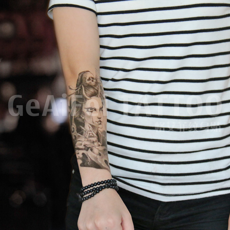 Temporary Tattoos Sticker for Men Women Arm Leg Black Fake Bleeding Skull Lady Design Waterproof Long Lasting Body Art Makeup