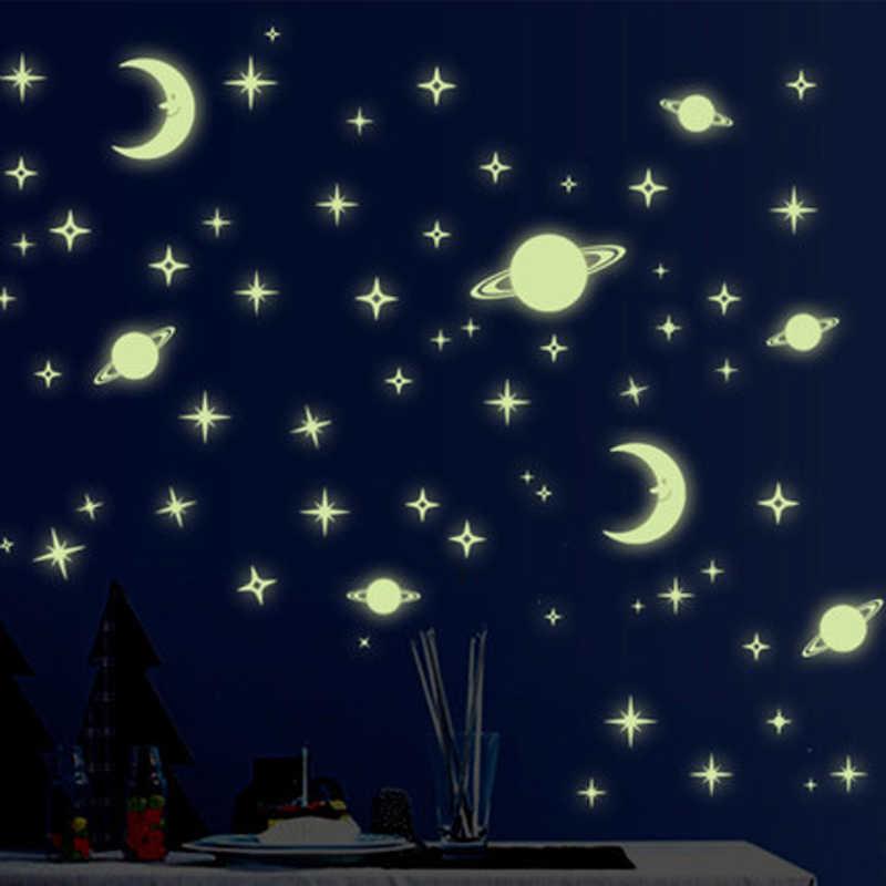 Les décorations murales lumineux étoile lumière patch fluorescent autocollant 3D en trois dimensions mur autocollants chambre toit lettre météore