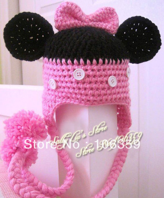 Free Shipping Mickey Mouse Handmade Knit Crochet Animal Baby Hats Kids  Earflaps Winter Beanie Baby Crochet Cap 5pcs 0fdc97f2014