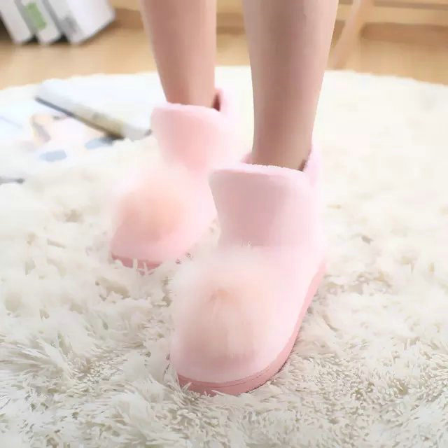 Drop shipping pink/gray winter plush boots cute warm boots for women at home indoor boots wholesale