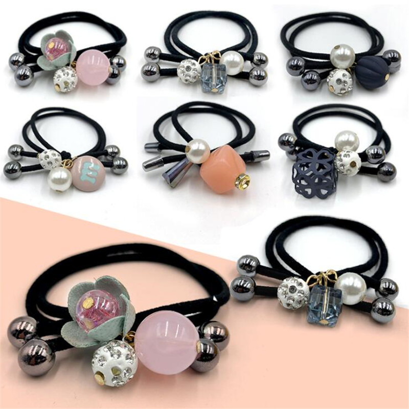 6 Pcs/set Fashion Flower Scrunchie Women Girls Elastic Hair Rubber Bands Accessories For Girls Lady Tie Hair Rope Ring Headdress