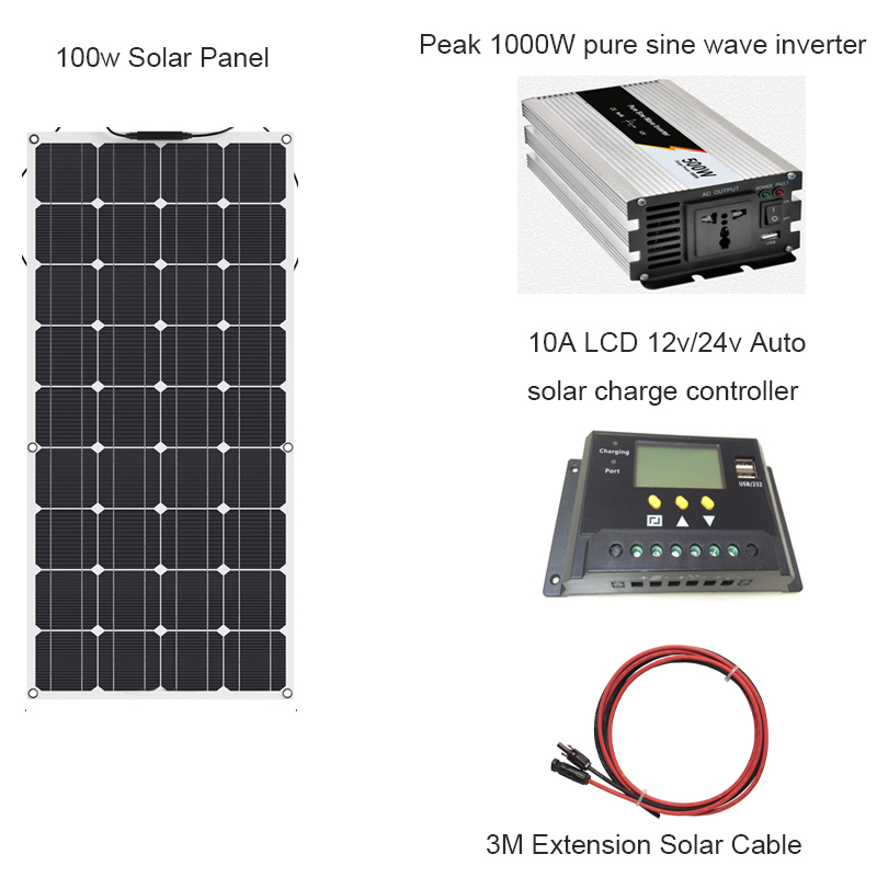 100W Flexible Solar Panel 10A LCD 12V/24V Controller and Surge power 1000w Pure Sine Wave Inverter For 12V Battery Solar Charger Solar Cells     - title=