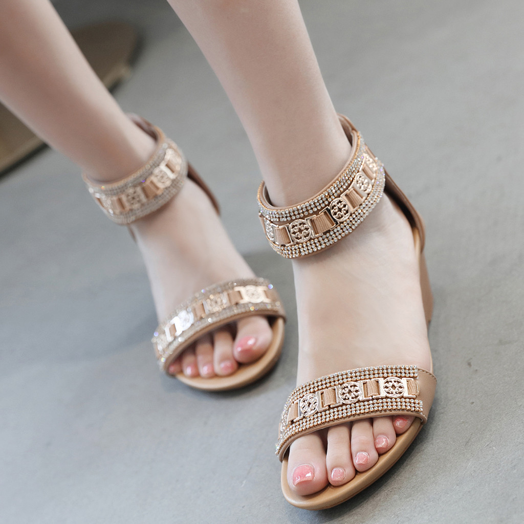 Wedges Shoes Sandals Middle-Heel Rhinestone Woman XTN