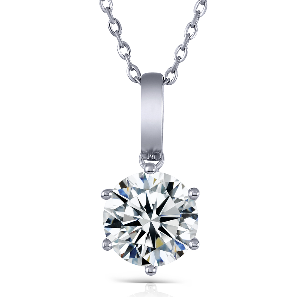 Transgems Luxury Solid 14K 585 White Gold Solitaire Setting 3ct F Color Moissanite Slide Pendant for Women Wedding Gifts Jewlery