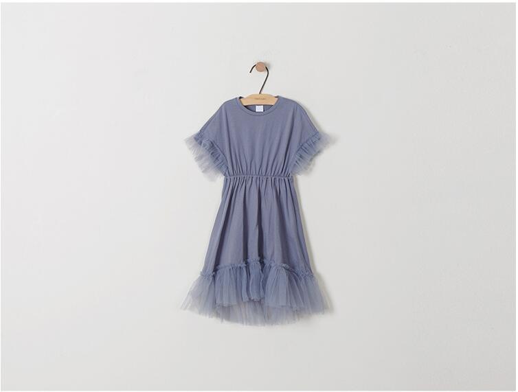 Teenager girls delicate simply styles mermaid tail dress children kids bat-wing sleeve summer ruffles splicing cotton dress 4