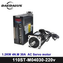 Новый AC сервопривод двигатель 4N. M 1.2KW 3000 об./мин. 110ST-M04030 + 220 В AC сервопривод Драйвер + 3 М кабель двигатель в сборе Комплект для ЧПУ