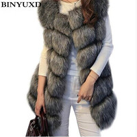 BINYUXD coat Arrival Winter Warm Fashion Women Import Coat Fur Vests High Grade Faux Fur Coat Fox Fur Long Vest Women's Jacket