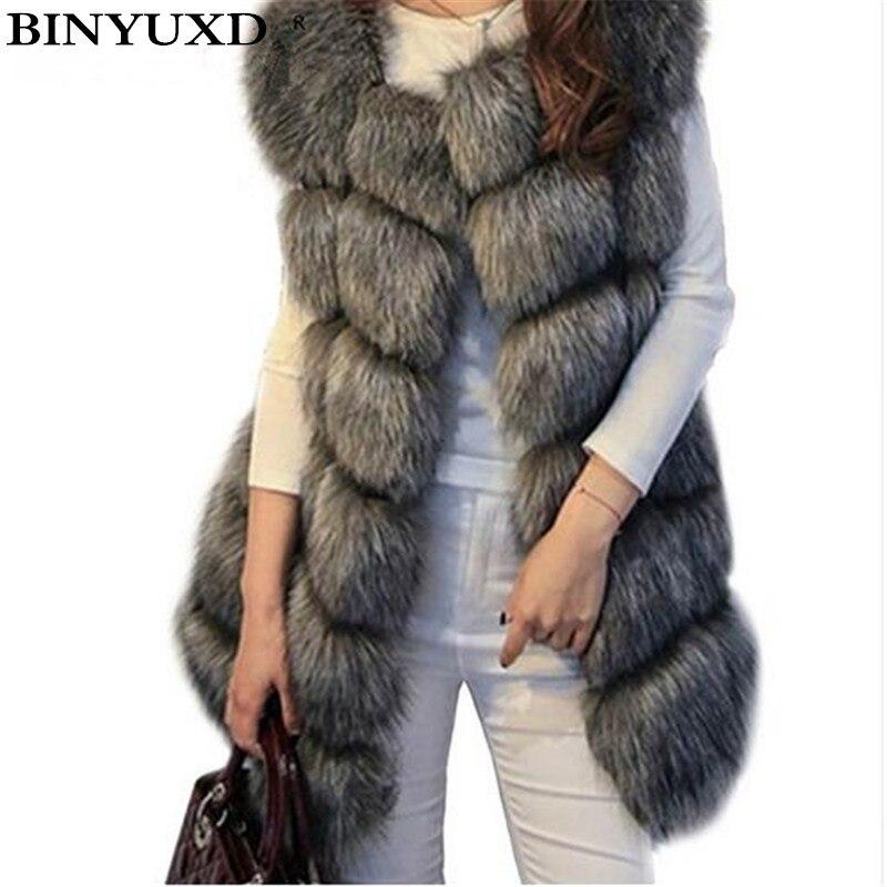 BINYUXD mantel Ankunft Winter Warme Mode Frauen Import Mantel Fell westen Hochwertigen Faux Pelz Fuchspelz Lange Weste frauen jacke