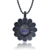 Newest Hiphop Sunflower Pendant Necklace Iced Out AAA+ Cubic Zircon Hiphop Black Flowers Pendant Jewelry Can Spin For 50 Seconds