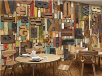 wall 3d wallpaper Retro Wooden Wooden Engraving English Letter Bar Restaurant Cafe Background Wall custom 3d wallpaper