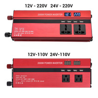 Dual Display Car Inverter 12V to 110V Power Inverter 2000W Converter Modified Sine Car Power Inverter 4 Port Charger Car Adapter
