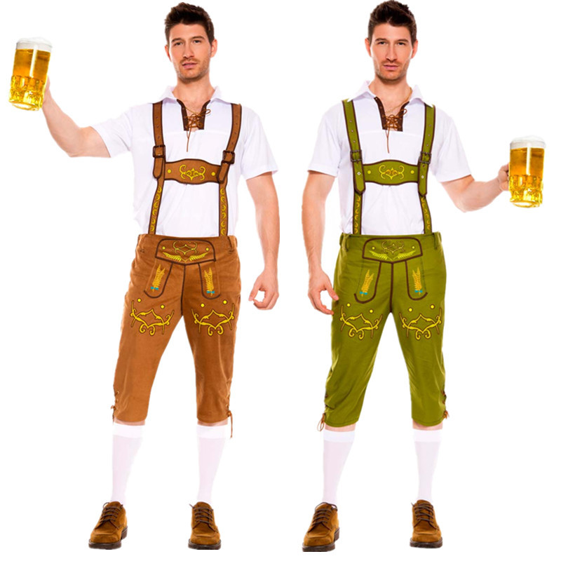 Man Oktoberfest Costumes Octoberfest Bavarian Beer Party Lederhosen and Top Adult Men Plus Size XXL