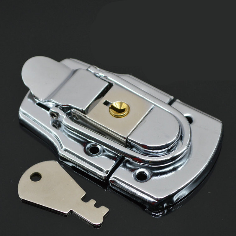 Stainless Steel Medium Size Brass Suitcase Buckle With 1 Key Hardware Tool Box Case Suitcase Tool Door Safety Latches