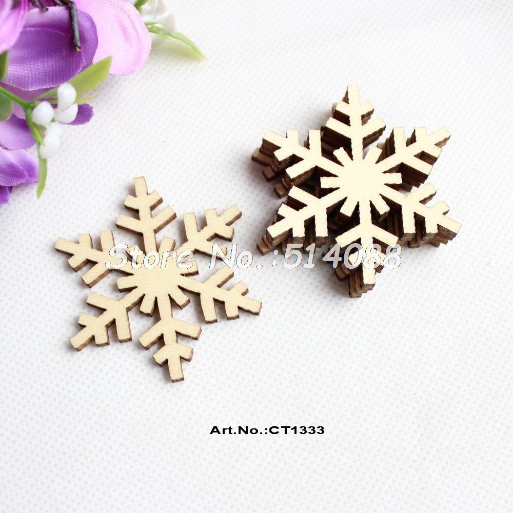Snowflake christmas ornaments bulk -  60pcs Lot 50mm Blank Wooden Snowflakes Rustic Wood Christmas Ornaments 2 0 Ct1333