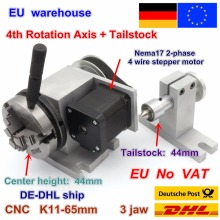 EU K11-65mm 3 jaw chuck 65mm 4th Axis & Tailstock CNC dividing head/Rotation Axis for CNC router woodworking engraving Machine cnc 4 axis 5 axis a aixs rotary axis without chuck for cnc router cnc miiling machine best quality free shipping