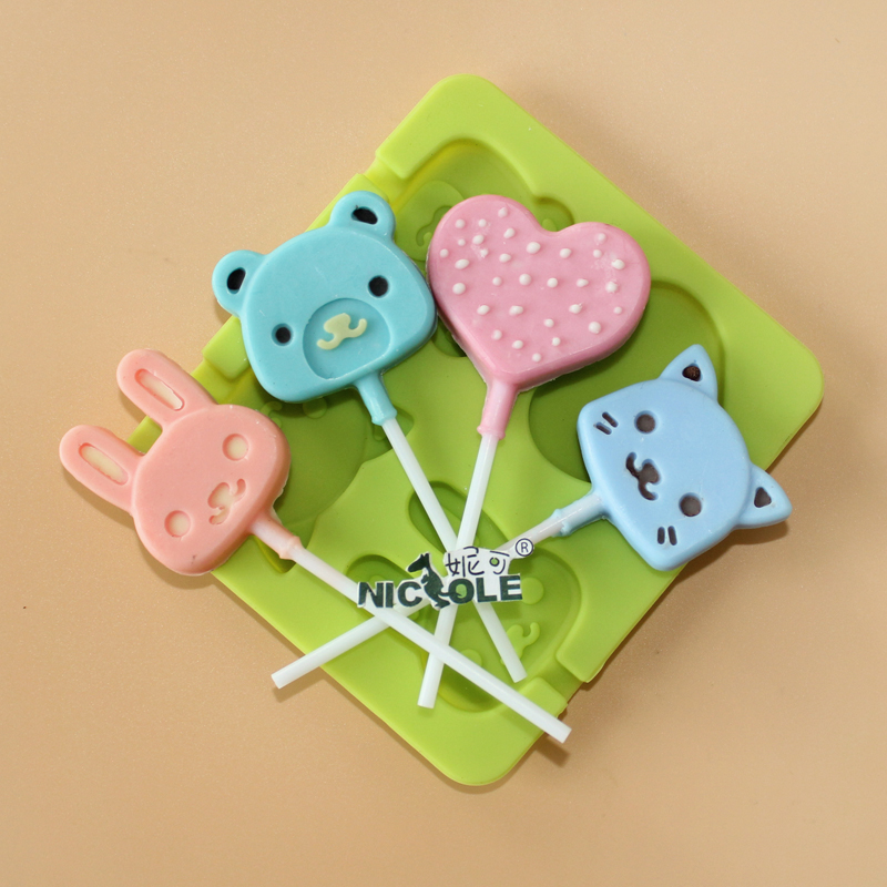 Lindo Animal Lollipop Moldes de Silicona Chocolate Candy Moldes DIY Jelly Pudding Molde Craft Cake Decorating Tool