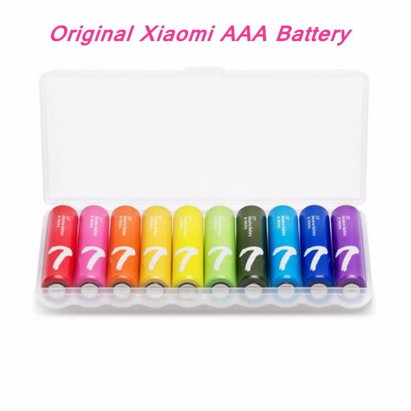Оригинал Xiaomi Zi7 ААА Батареи Ми Радуга Красочные Щелочная Батарея Комплект 7 й AAA Щелочные Батареи Для Камеры Игрушки 10 штлот купить на AliExpress