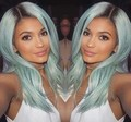 Mimi hair Ombre Mint Green Synthetic Lace Front Wig Glueless Dark Black/Green Heat Resistant Hair Women Wigs
