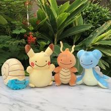 Lindo transforma Ditto Lapras Dragonite Pikachu Omanyte peluche juguetes muñeca de dibujos animados(China)