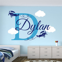 T06083 Creative Airplanes With Clouds Custom Boys Name Airplane Clouds Decal Nursery Decor Kids Room Decor Vinyl Wall Sticker