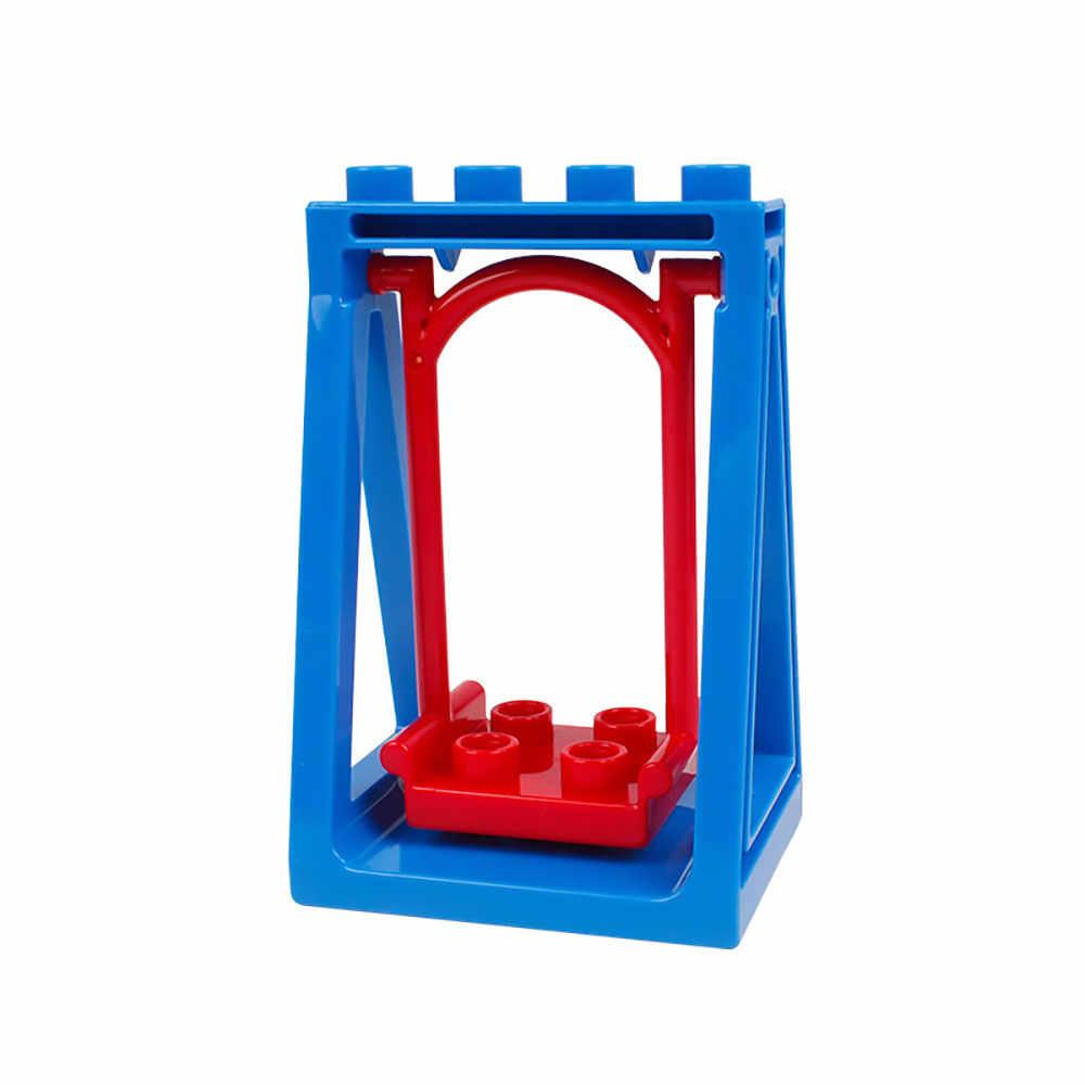 Legoing Duploed Besar Ukuran Partikel Besar Blok Bangunan Aksesori Pagar Geser Tangga Window Batu Bata Mainan untuk Anak Anak Hadiah